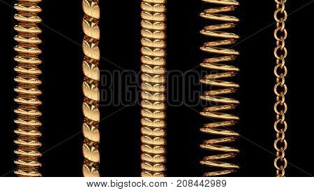 Set of 5 gold repeatable border pieces. 3D rendered. isolated.