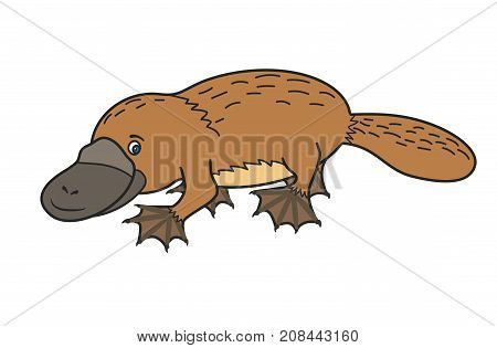 Funny platypus. Australian wild animal. Happy cartoon.Cute vector illustration for children.Cute Character.Isolated image on a white background.