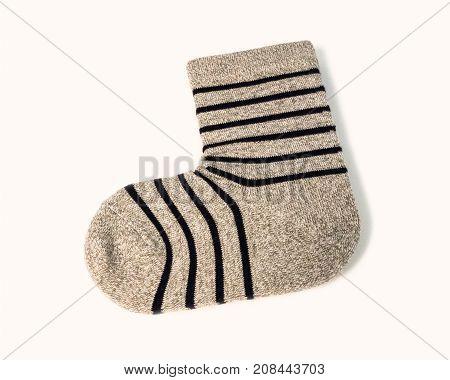 Single Grey Ankle Sock With Black Stripe Pattern
