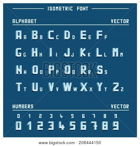 Alphabet and numbers in vector isometric font on blue background