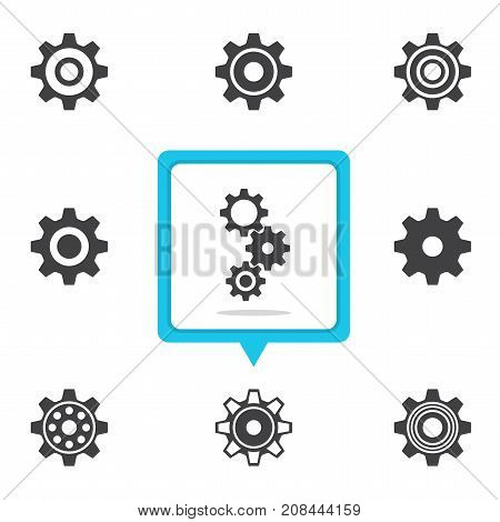 Vector set of gear icons in black shape