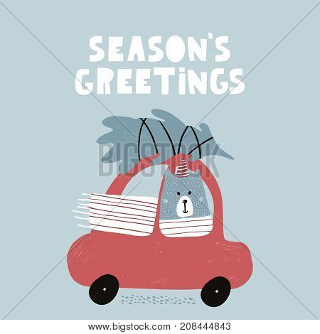 Seasons greeting vector photo free trial bigstock seasons greeting quote cute winter greeting background with polar bear holiday and christmas illustration m4hsunfo