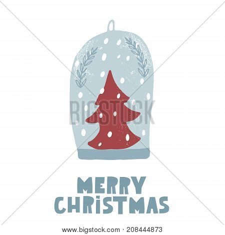 Cute winter greeting background with snowball. Holiday and christmas illustration. It can be used for greeting card posters apparel