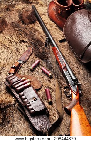 Hunting Double Barrel Vintage Shotgun, Leather Bandolier Hunters Bag,knife And Leather Boots Mmuniti
