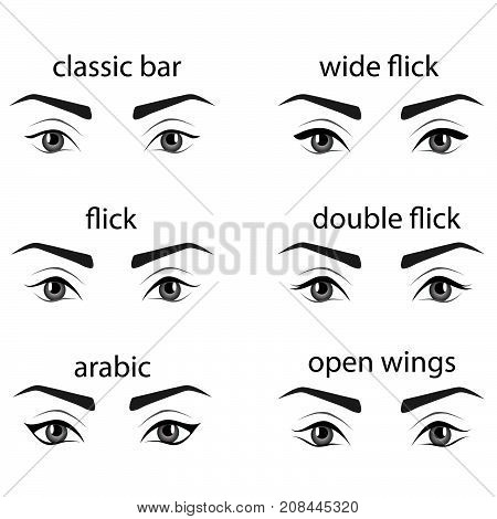 Various types of eyeliner, vector set. Types of eye makeup. Eyeliner shape tutorial. Illustration of eyebrow line make up isolated on white background. Beauty article, magazine, book.