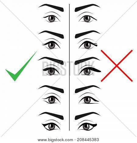 Right and wrong eyeliner shapes. Female eyes and eyebrows vector elements isolated on white background. Types of eye makeup