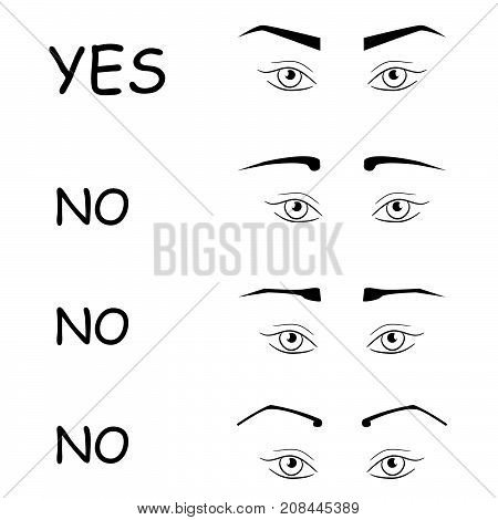 right and wrong eyebrow shapes. How to make perfect brows