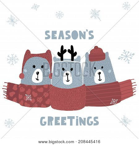Season's greeting quote. Cute winter greeting background with polar bears. Holiday and christmas illustration. It can be used for greeting card posters apparel