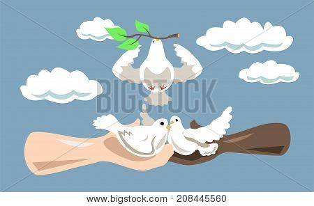 Human hands with white dove birds in the sky. Dove of peace. Mindfulness concept illustration vector.