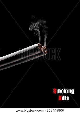 Smoking Kills. Cigarette Like Double Barrel Shotgun Shooting. Conceptual Image.