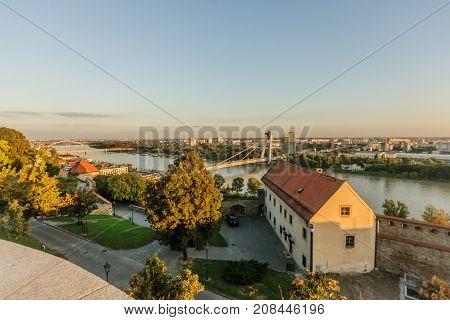 Danube River And Snp Bridge, Bratislava