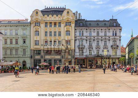 Scene Of The Main Square, In Bratislava