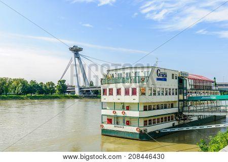 Danube River And Snp Bridge, In Bratislava