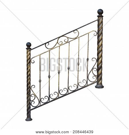 Modern decorative railing with ornaments. Isolated over white background.
