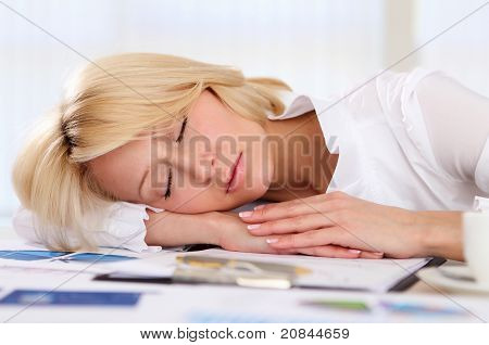young business woman asleep