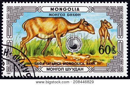 MONGOLIA - CIRCA 1986: a stamp printed in Mongolia shows Saiga Antelope Saiga Tatarica Mongolica Doe and Fawn Saiga Antelope is Critically Endangered circa 1986
