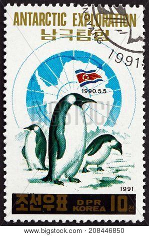 NORTH KOREA - CIRCA 1991: a stamp printed in North Korea shows Penguins Antartic Exploration circa 1991