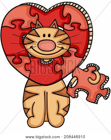 Scalable vectorial image representing a cat with heart shaped puzzle, isolated on white.