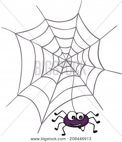 Scalable vectorial image representing a Halloween spider with web, isolated on white.