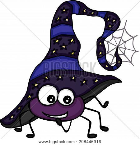 Scalable vectorial image representing a Halloween spider with witch hat, isolated on white.