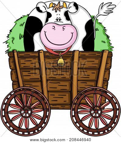 Scalable vectorial image representing a wooden trolley with cute cow and fresh grass, isolated on white.