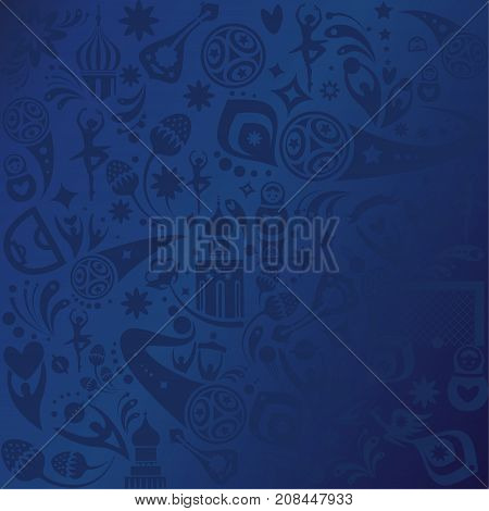 Football 2018 Russia World Cup Abstract football tournament background, dynamic texture banner Vector world cup competition. Championship soccer card Russian folk decorative elements blue pattern template.