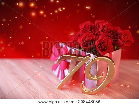 birthday concept with red roses in gift on wooden desk. 3D render - seventy-nineth birthday. 79th