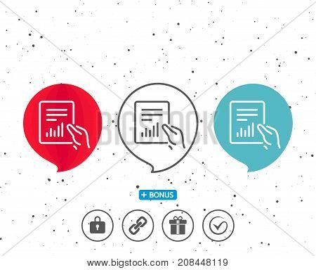 Report Document Line Icon. Analysis Chart.
