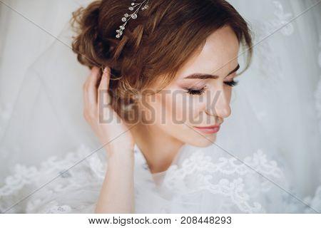 Beautiful Happy Bride Sensual Portrait, Standing In Silk Robe At Her Luxury Wedding Dress. Happy Mom