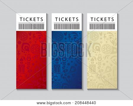 Set of Football 2018 Russia World Cup Abstract football tournament tickets template concept, dynamic texture banner Vector world cup competition. Championship soccer Russian folk art decor elements pattern.