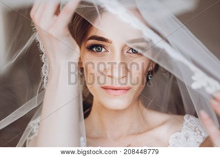 Happy Stylish Bride Looking Under Veil. Space For Text. Gorgeous Bride Getting Ready And Posing In T