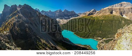 Panoramatic view of Moraine lake from Tower of Babel Lake louise Banff NP Canada