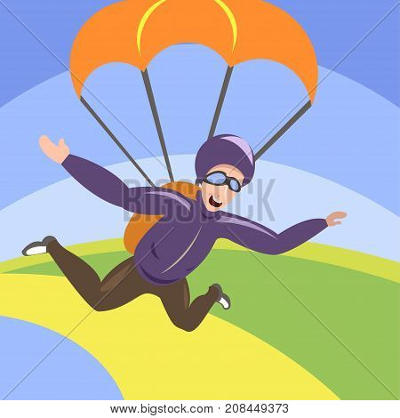 Young man with parachute in the sky. Skydiver freedom. Exploring the extreme. Serenity, freedom, mindfulness concept illustration vector.