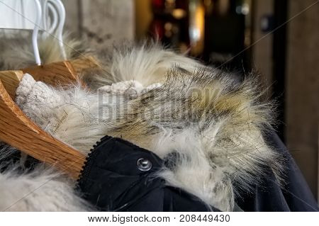 Furry Jacket Coat Collar Closeup Winter Cold Weather Fashion On Rack In Store