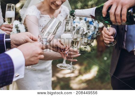 Couple Of Newlyweds, Bride And Groom Together With Bridesmaids And Groomsmen Drinking Champagne Outd
