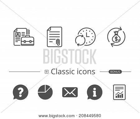 Portfolio, Money Bag And Attachment File Icons.