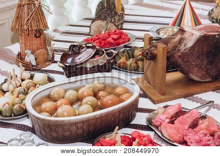 Meat Ham Hamon And Snacks  On Beer Table At Wedding Reception In Restaurant. Luxury Catering. Christ