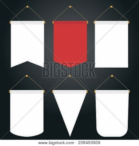 Pennant Template Hanging on Wall Set. Random empty pennants flags poster mockup, Blank Banner. Vector
