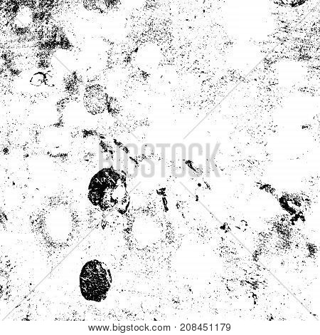 Ink stroke brushed renovate wall backdrop. Distressed grainy overlay texture. Grunge dark corner messy background. Dirty paper empty cover template. Insane aging border design element. EPS10 vector.