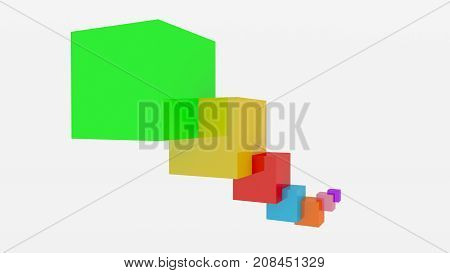 Multicolored 3D cubes in chain with white background. An abstract modern decoration. 3D render.