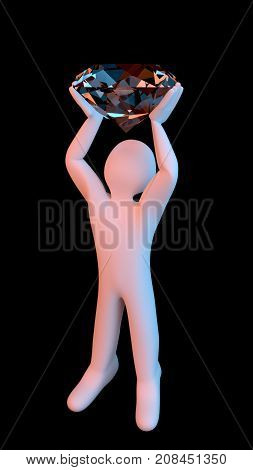 A white color figure at black background holding a huge diamond over their head. Can mean a prize won, treasure found, win, or simply obtaining beautiful jewelry. 3D render.