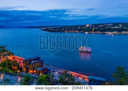 Quebec City, Canada - May 30, 2017: Cityscape Or Skyline Aerial View Of Saint Lawrence River And Lev