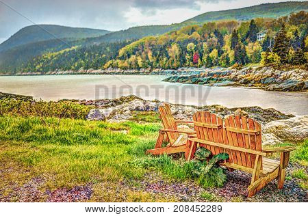 Port-au-persil Beach In Quebec, Canada Charlevoix Region During Stormy Rainy Day With Saint Lawrence
