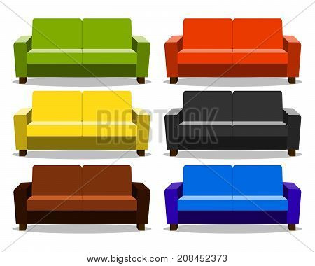 interior with realistic set sofa, lounge, settee couch, ottoman icon. couch realistic cartoon isolated on white background. Objects for interior design Vector Illustration eps10