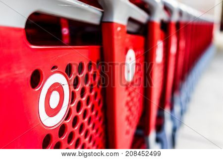 Fairfax, Usa - September 21, 2017: Many Rows Of Red Shopping Carts Outside By Store With Closeup By