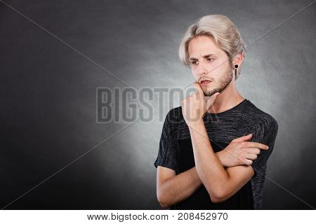 Young Man Thinking Seek A Solution