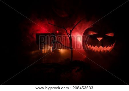 Horror View Of Hanged Girl On Tree At Night Suicide Decoration. Death Punishment Executions Or Suici