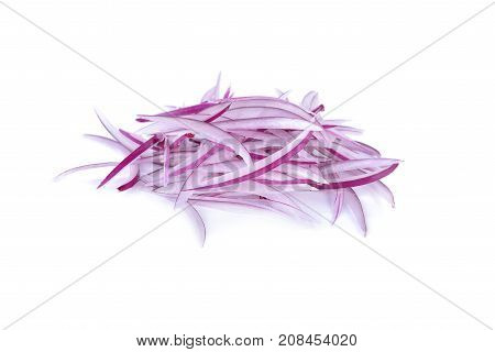 pile of sliced shallot or red onion on white background