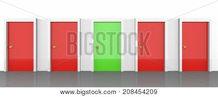 Set of doors with all being red, but the right one being green. Represents right choice, right path, or a good possibility.