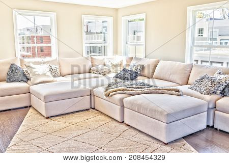 Loft Interior Space Of Modern Apartment, House Or Home With Staging Of Large Beige, Neutral White Co